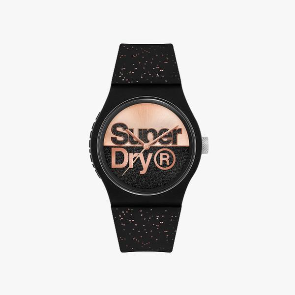 Superdry Urban Glitter Brand Analog Black Dial Women's Watch-SYL273B