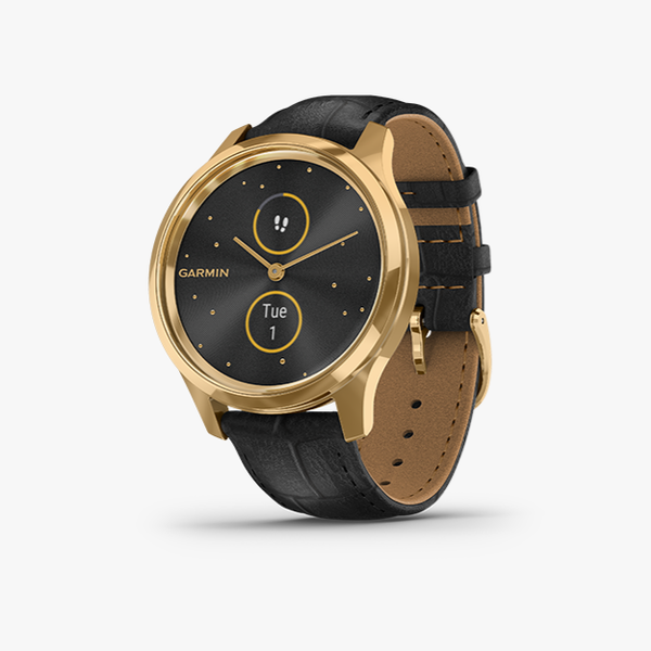 vivomove Luxe - Black Embossed Leather with 24K Gold Hardware
