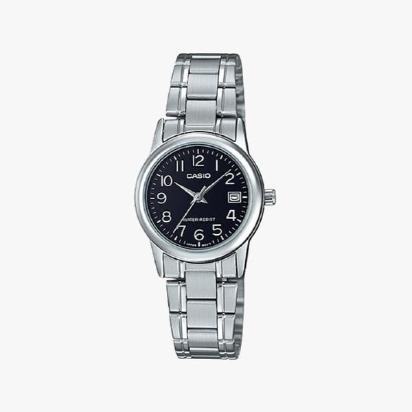 [ประกันร้าน] CASIO นาฬิกาข้อมือผู้หญิง รุ่น LTP-V002D-1B Standard Black Dial Silver