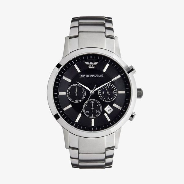 Classic Chronograph Black Dial Steel - Silver