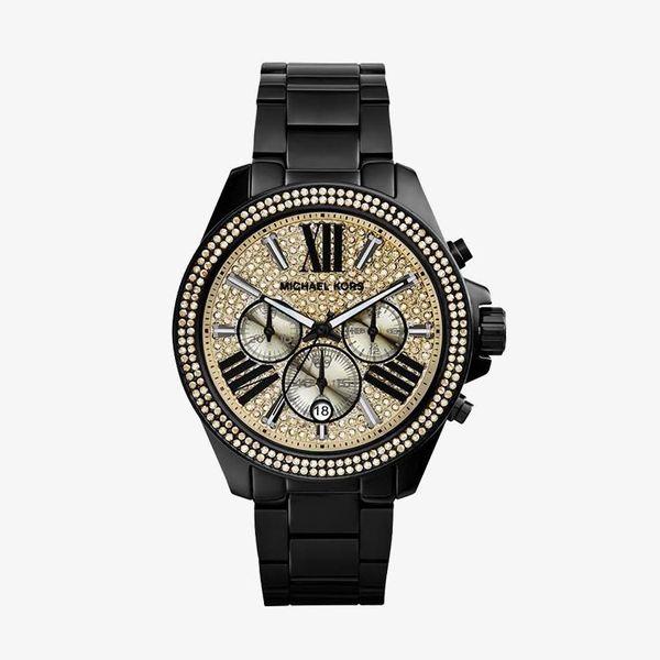 Wren Chronograph Crystal Pave Dial - Black - MK5961