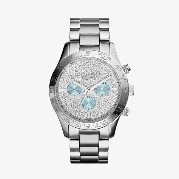 Layton Silver Crystal Pave Dial - Silver - MK6076