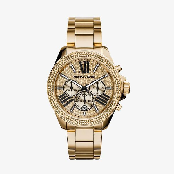 Wren Chronograph Crystal Pave Dial - Gold - MK6095