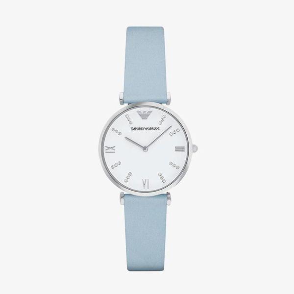 Armani Silvery White Dial - Blue - AR1928