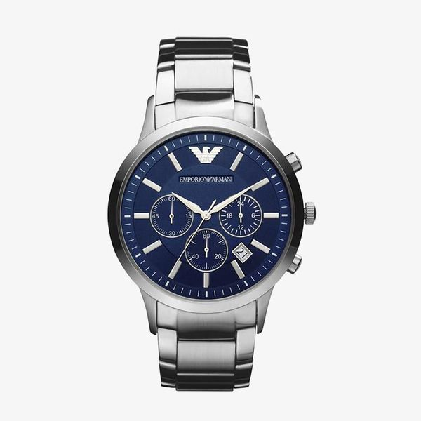 Classic Chronograph Navy Blue Dial - Silver