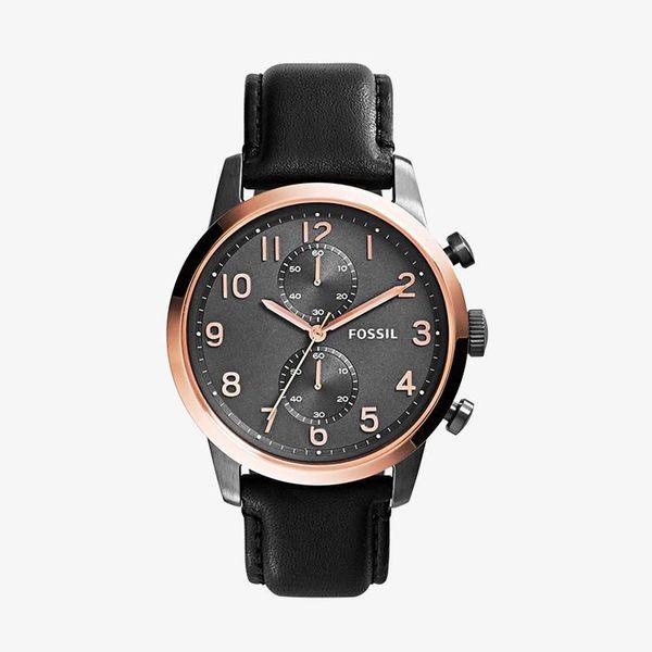 Townsman Chronograph Black Leather - Black
