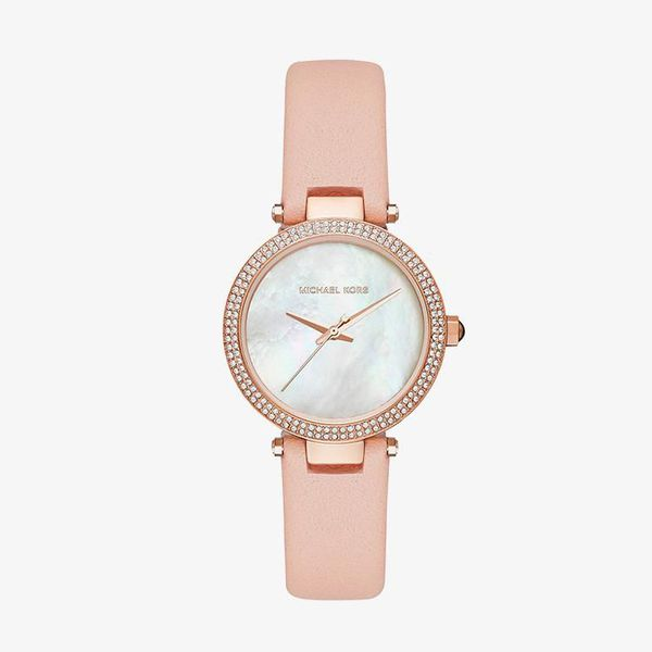 Mini Parker Pink Leather Strap - Rose Gold - MK2590