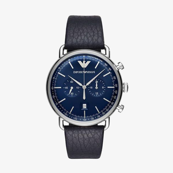 Aviator Chronograph Blue Dial - Black